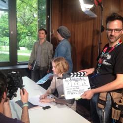 Das Team von InZwischenZeit:Filme am Campus Westend in Frankfurt dreht eine Szene des Spielfilms Uranophobie, die Angst vor dem Himmel.