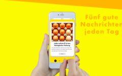 Eine Hand zeigt die Bedienung der Good News App, Still aus einem Film von InZwischenZeit:Filme