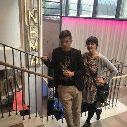 Die hessischen Filmproduzenten Alicia-Eva Rost und David Rost (InZwischenZeit:Filme) im Treppenhaus des deutschen Filmmuseums