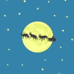 Der Weihnachtsmann fliegt in einem Schlitten am Mond vorbei, ein Still aus einem Clip von InZwischenZeit Filme